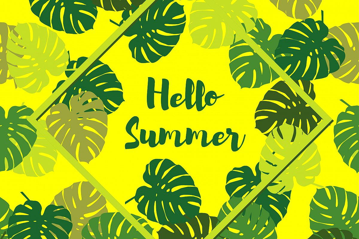 Seamless background with decorative leaves. Summer tropical design. Textile rapport.  example image 1