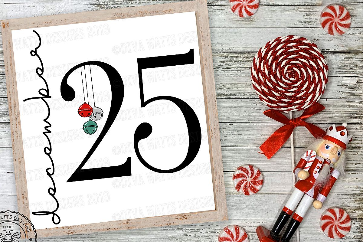 December 25 Christmas Day Cutting File with Bells example image 1