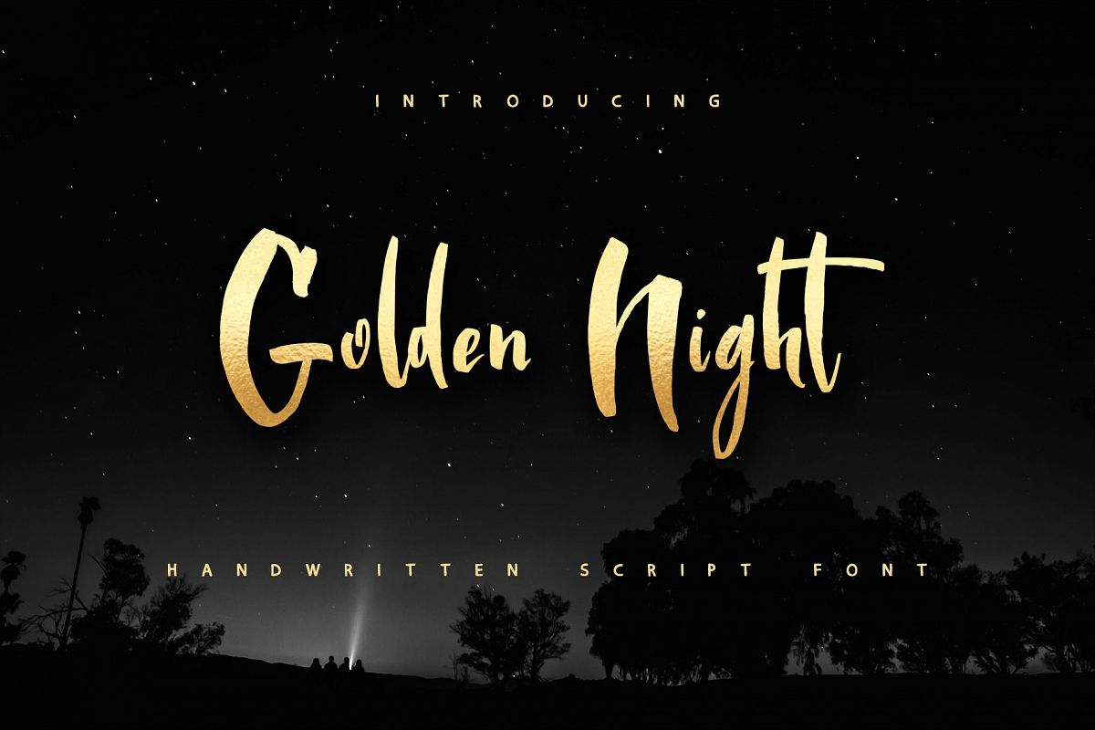 Golden Night script font example image 1