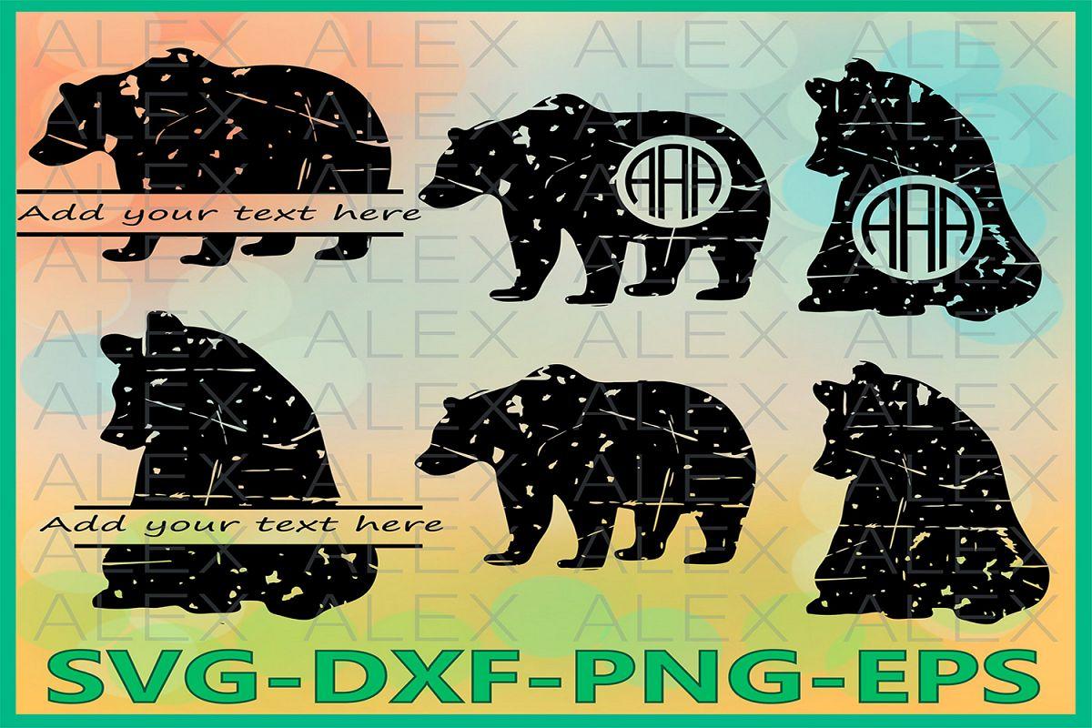 Bear Svg, Bear Grunge SVG, Distressed Svg, Cricut Cut Files example image 1
