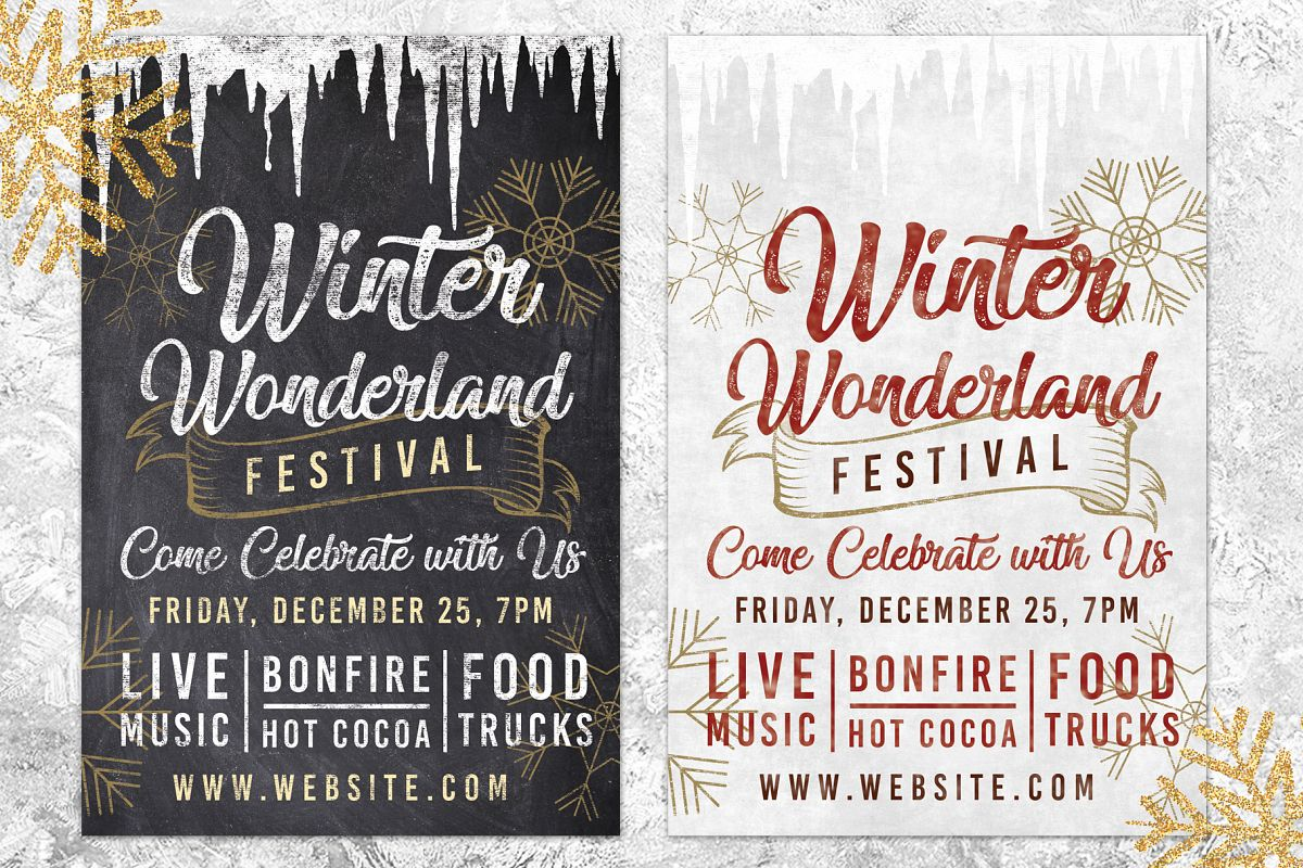 Chalk Christmas Winter Wonderland Holiday Flyer Invite example image 1