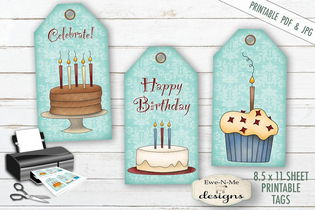 Printable Birthday Tags - Cake Cupcakes - PDF & JPG example image 1