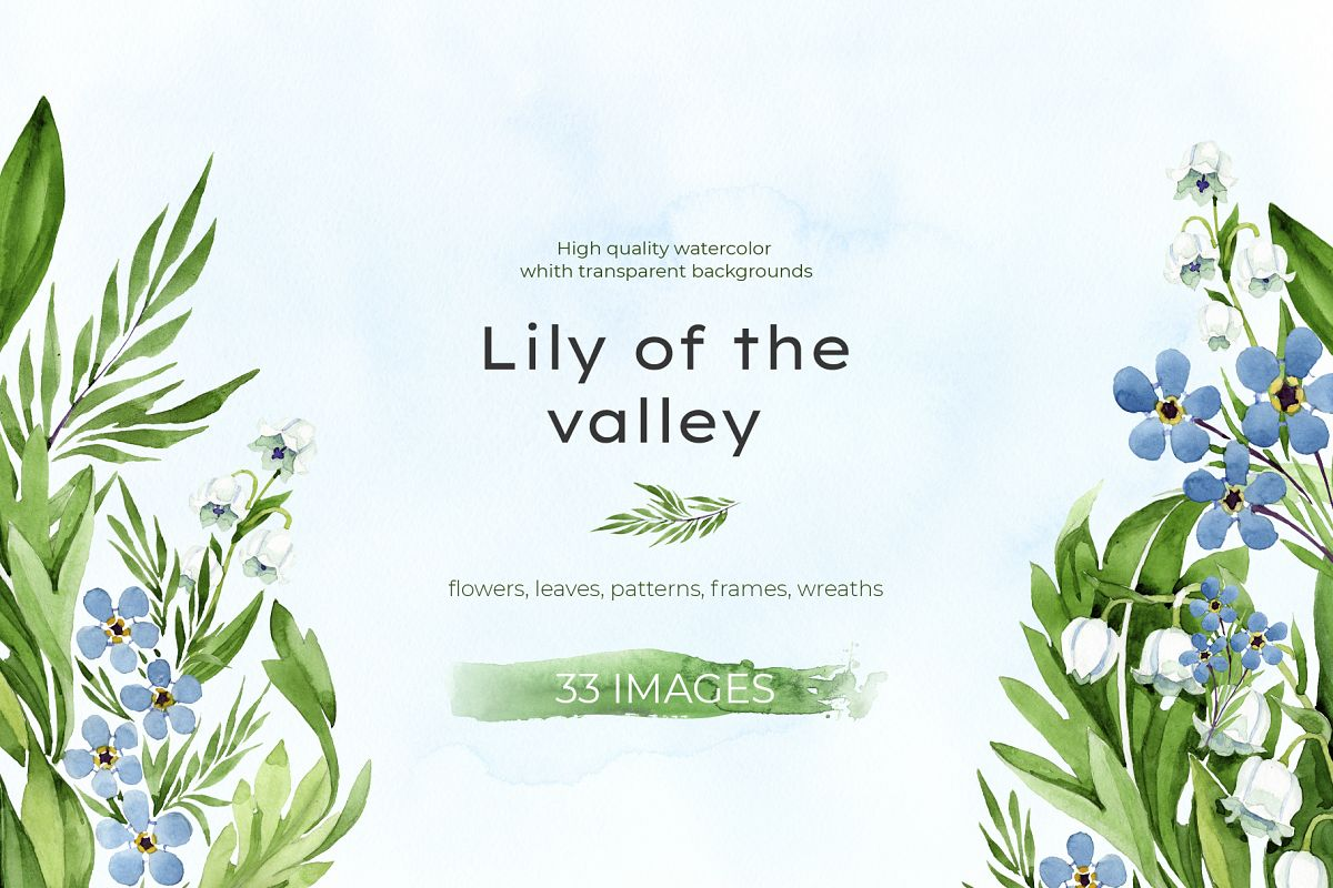 lily of the valley watercolor and forget-me-nots png example image 1