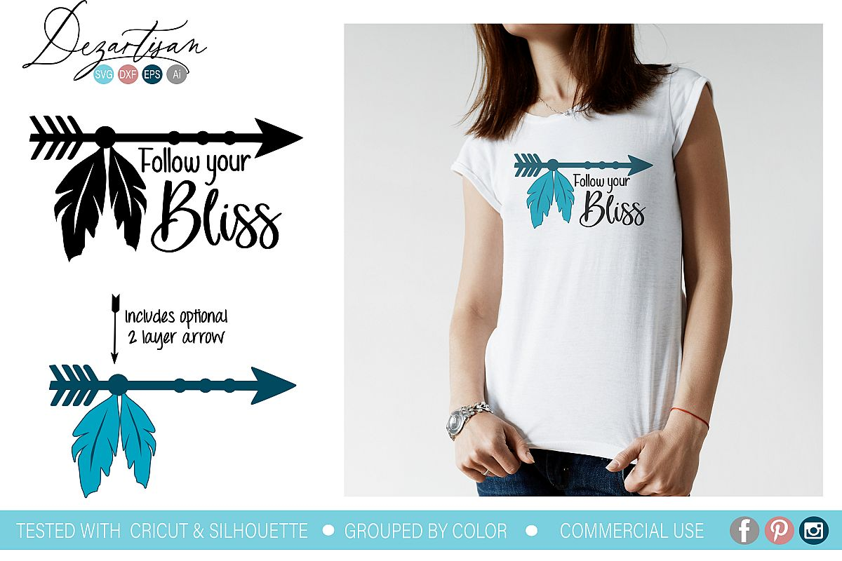 Follow your bliss Boho Arrow Feathers SVG DXF cut file example image 1
