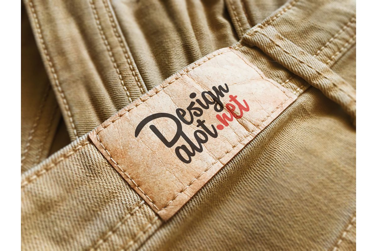 Beige Paper Label on Yellow Jeans example image 1