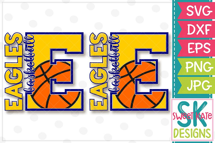 E Eagles Basketball SVG DXF EPS PNG JPG example image 1