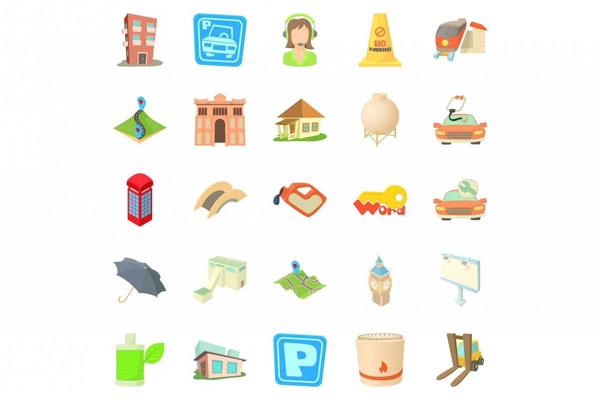 Town icons set, cartoon style example image 1