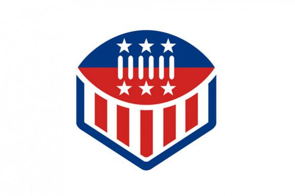 American Football USA Flag Crest Icon example image 1