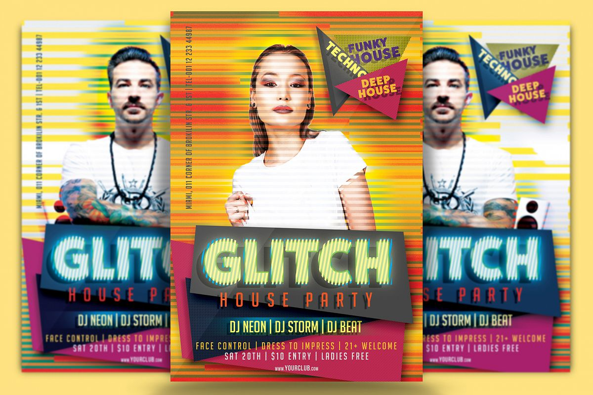 Glitch House Party Flyer Template Example Image 1