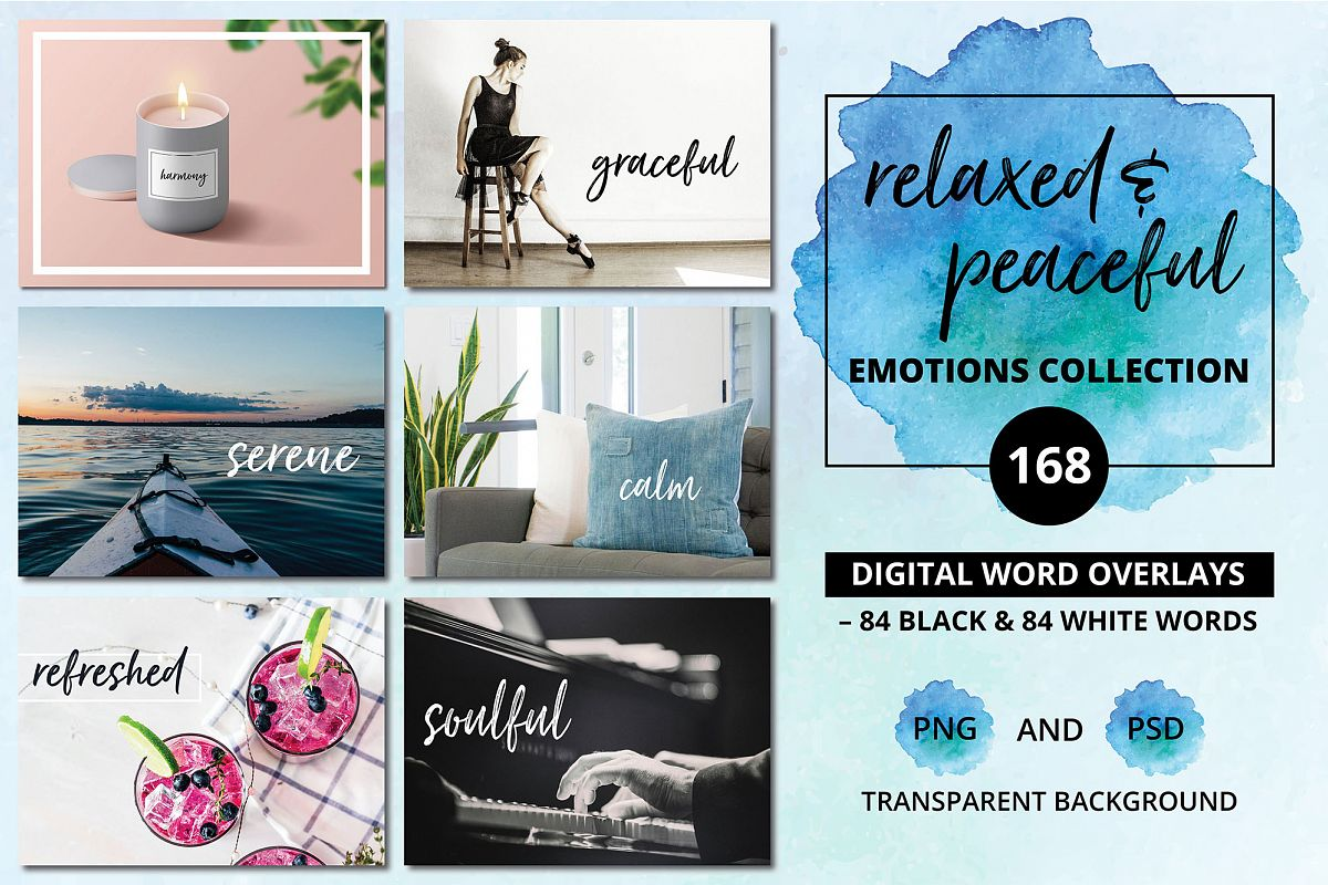 Digital Word Overlays - 168 Relaxed & Peaceful Emotions example image 1