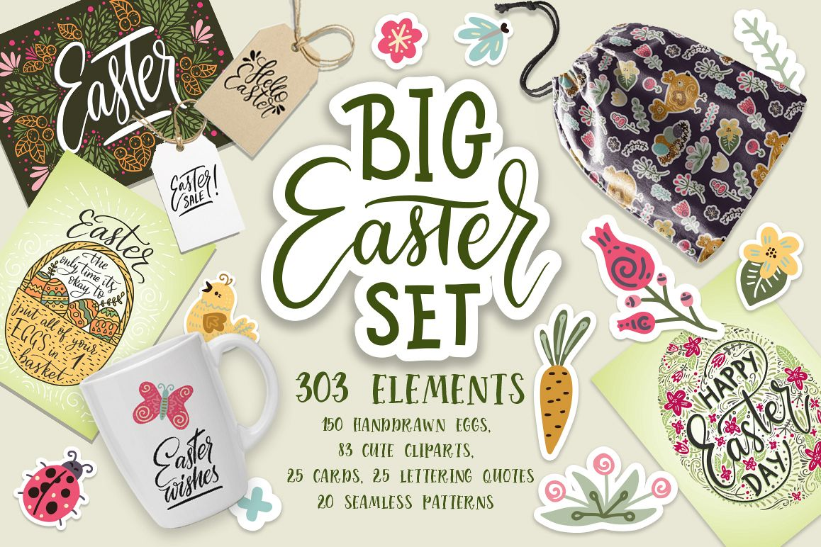 Big Easter Set. 303 elements. example image 1