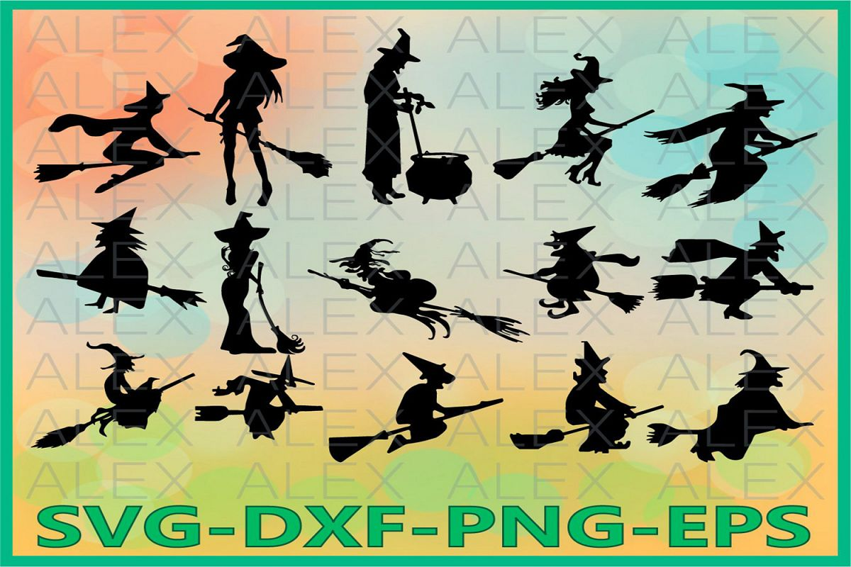 Witch Svg, Halloween Witch png, Halloween Clipart example image 1