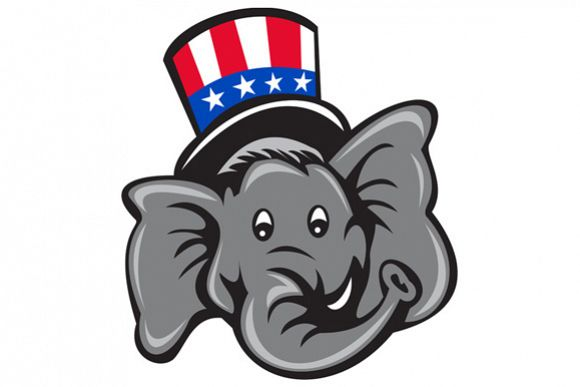 Republican Elephant Mascot Head Top Hat Cartoon example image 1
