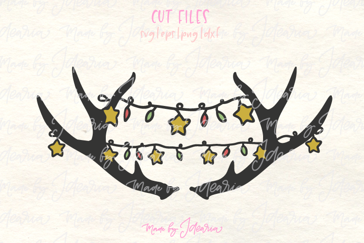 Deer Antlers Svg with Christmas Lights Svg for Tshirt Pillow example image 1