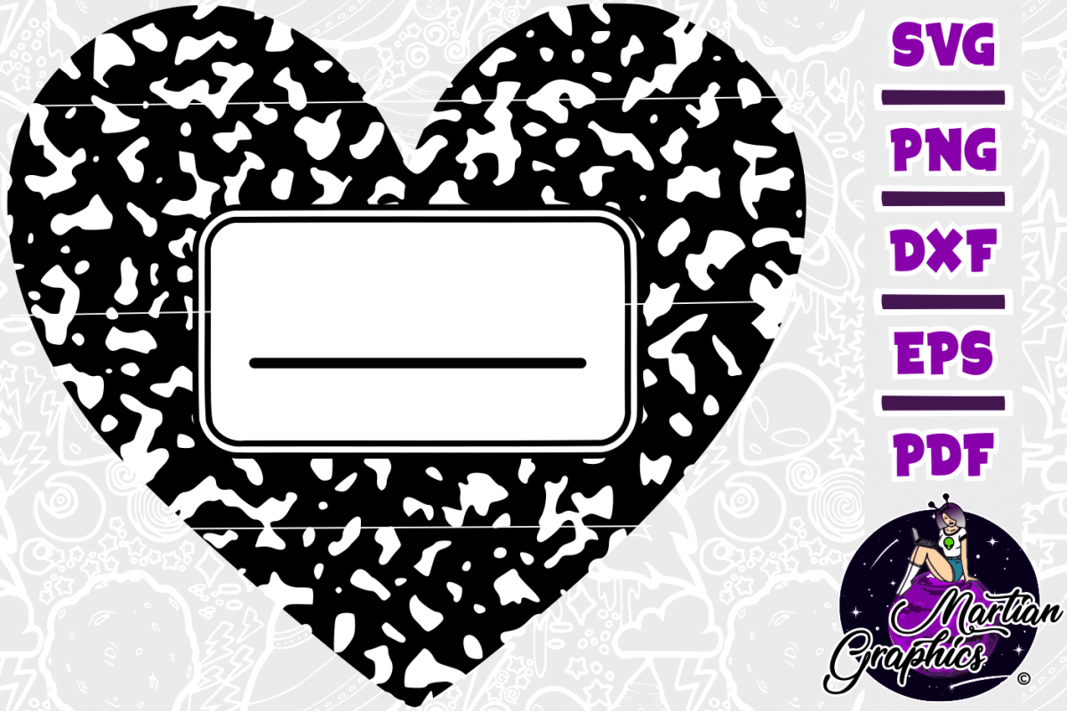 Heart Composition Book Name Tag example image 1