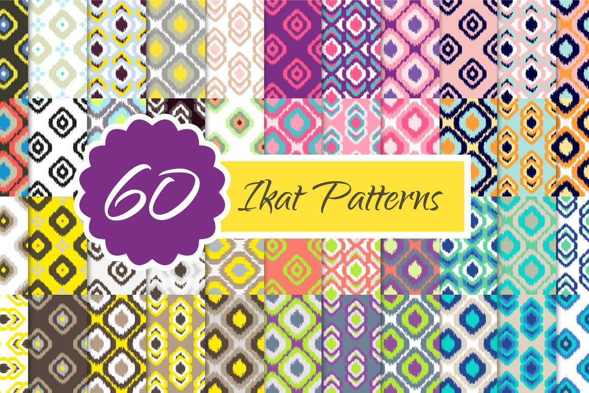 60 Ikat Seamless Vector Patterns example image 1