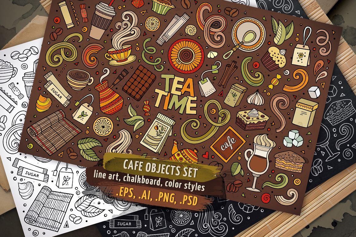 Tea Time Objects & Symbols Set example image 1