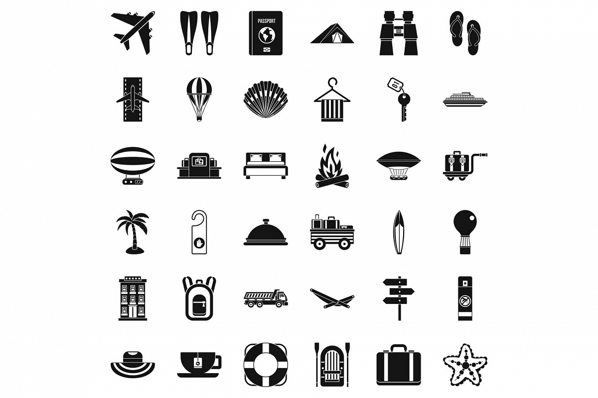 Travel time icons set, simple style example image 1