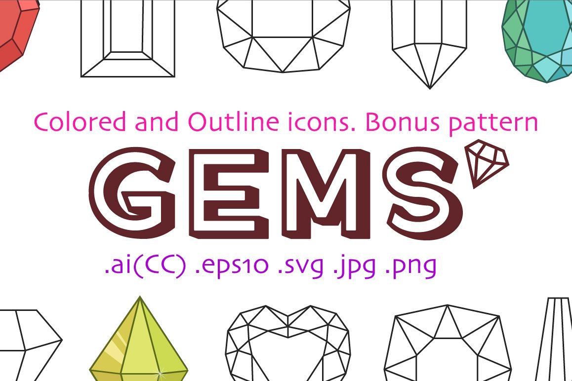 10 Colored and 10 Outline Gemstones  example image 1