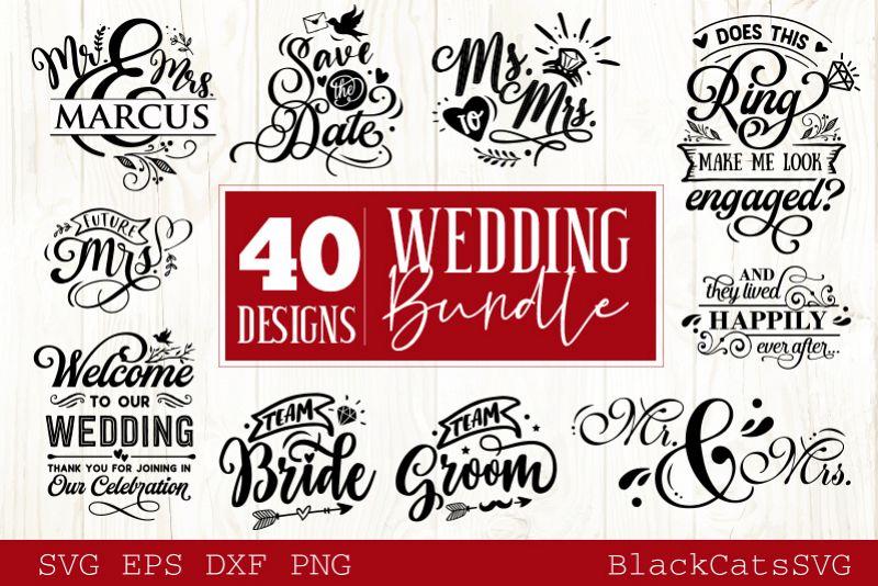 Wedding SVG bundle 40 designs vol 1 example image 1