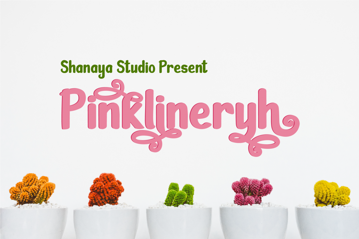 Pinklineryh | Cute Font example image 1