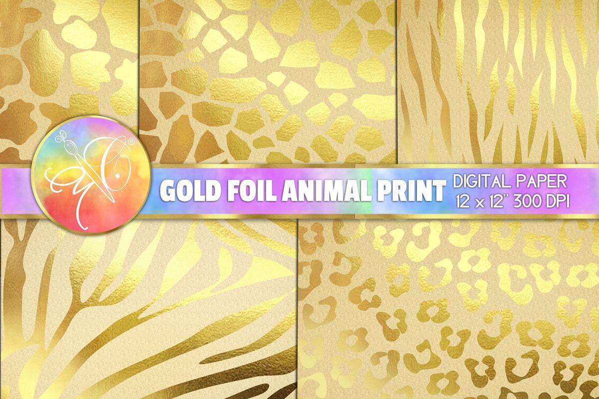 Gold Foil Animal Print Digital Paper, Kraft Paper example image 1