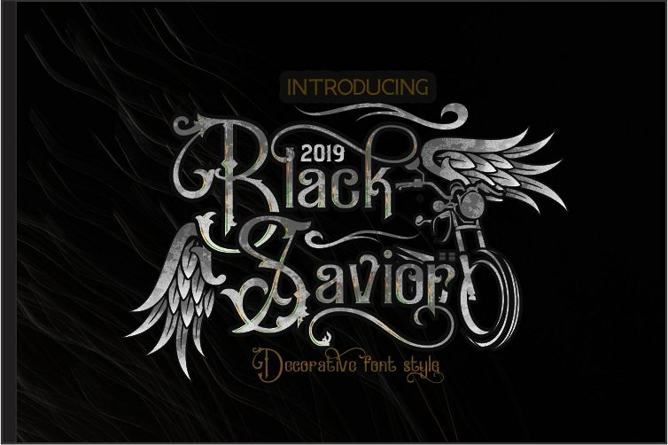 Black Savior - decorative calligraphy Display Font example image 1