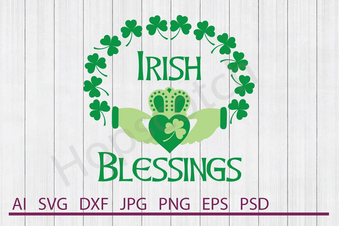 Irish Blessings SVG, Clovers SVG, DXF File, Cuttable File