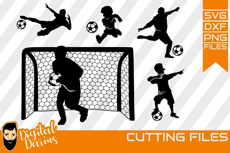 5x Football Player SVG, Ball Svg, Hobby dxf, Sports, Circuit example image 1