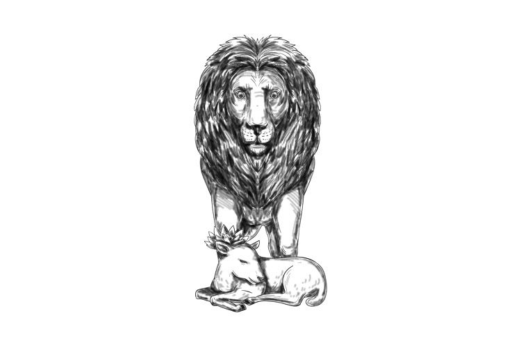 Lion Guarding Lamb Tattoo example image 1