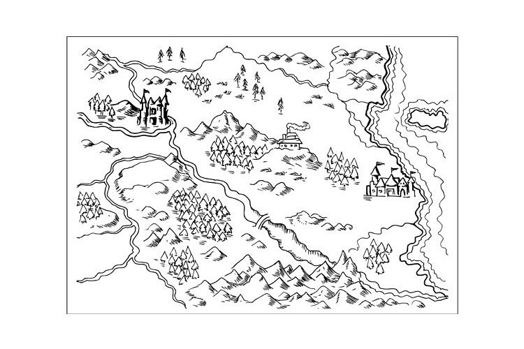 Map of Fantasy Land grunge example image 1