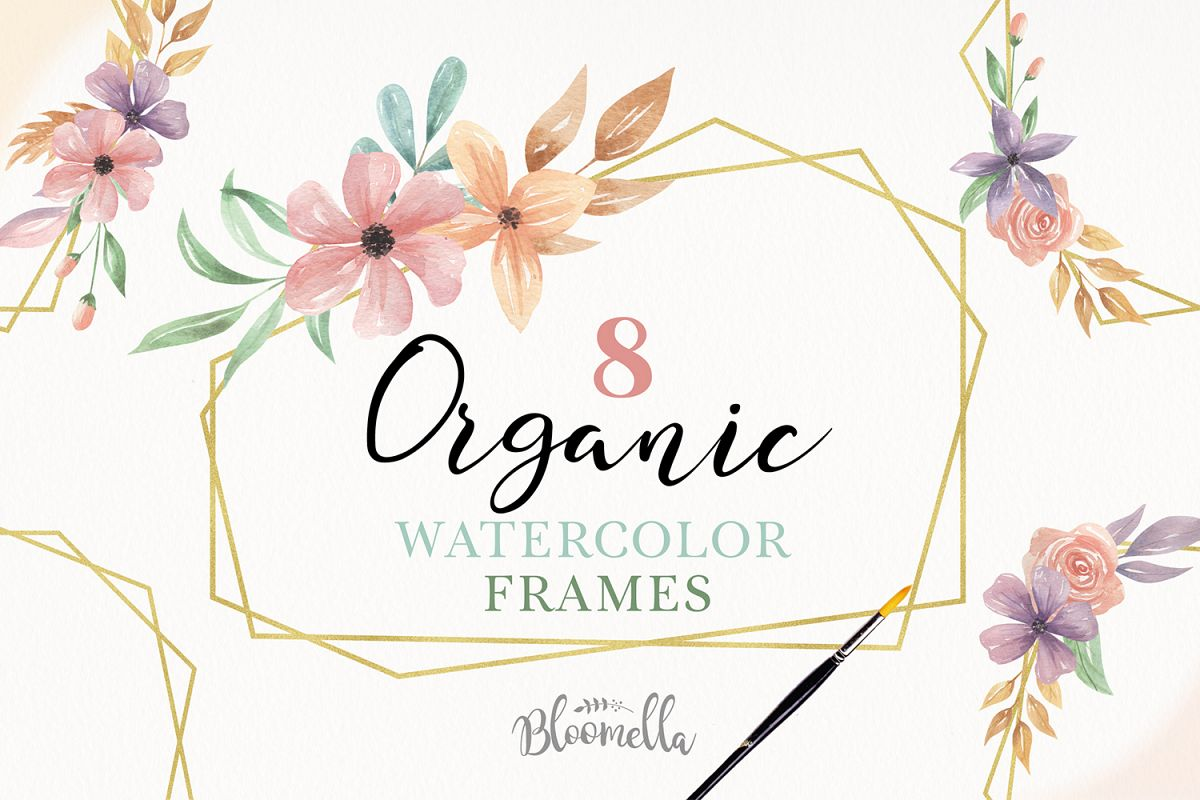 Gold 8 Frames Watercolor Floral Border Flowers Clipart