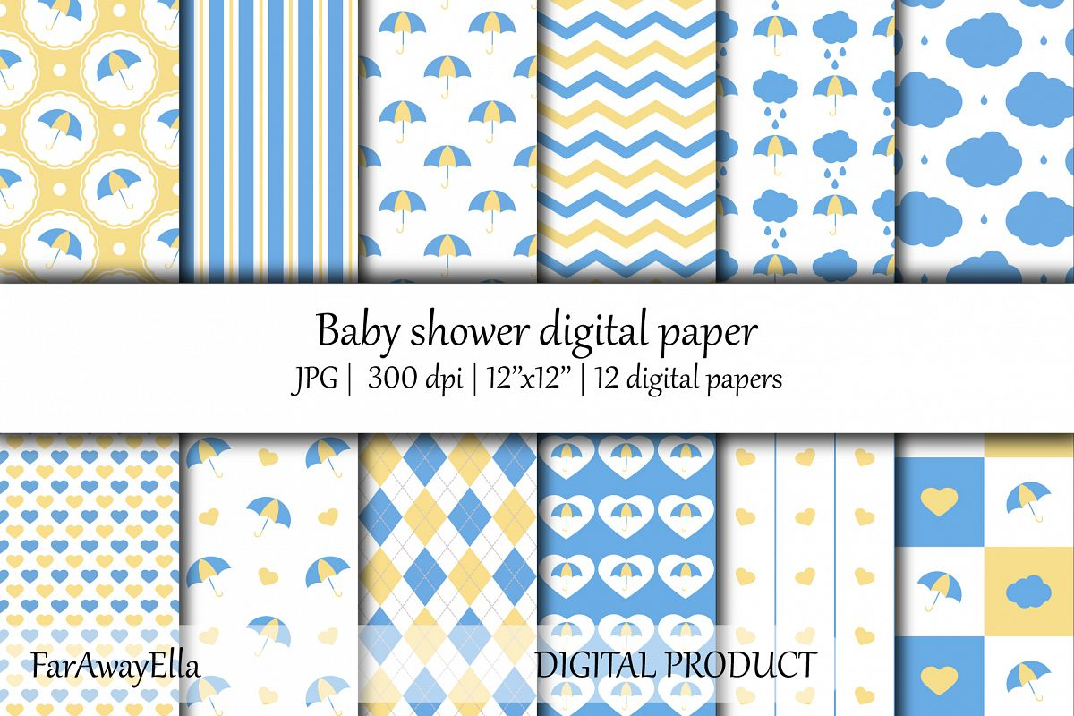 Baby shower blue and yellow JPG digital paper | Seamless example image 1