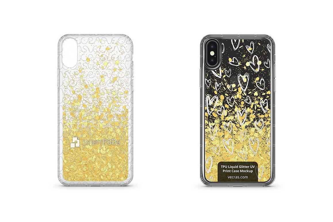 Apple iPhone X UV TPU Liquid Glitter Case Design Mock-up example image 1