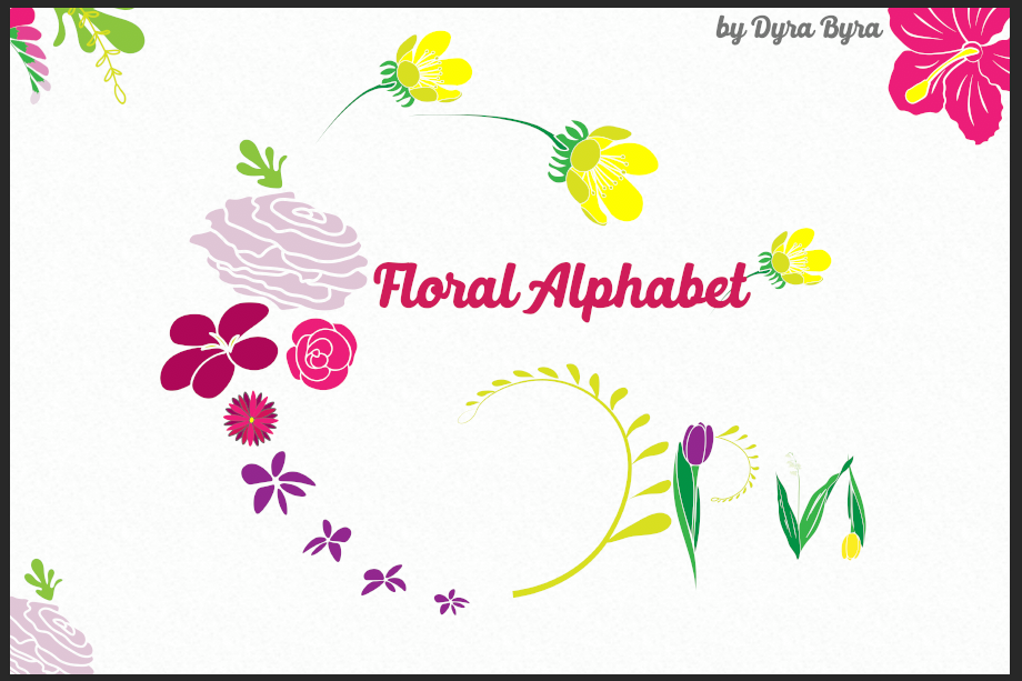 Monogram FLORAL ALPHABET- Spring/Flowers/ Easter/ Mother's d example image 1