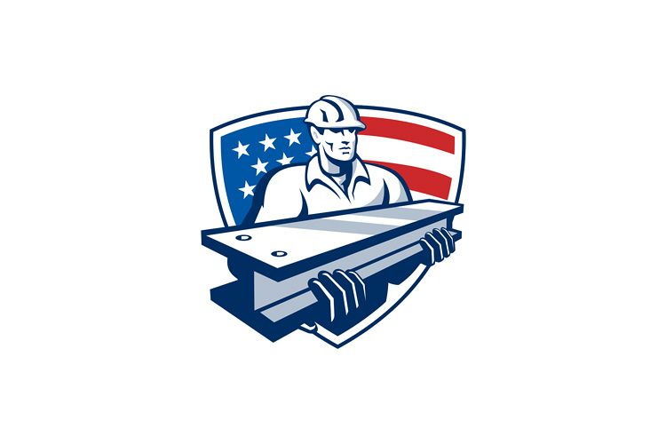 Construction Steel Worker I-Beam American Flag example image 1