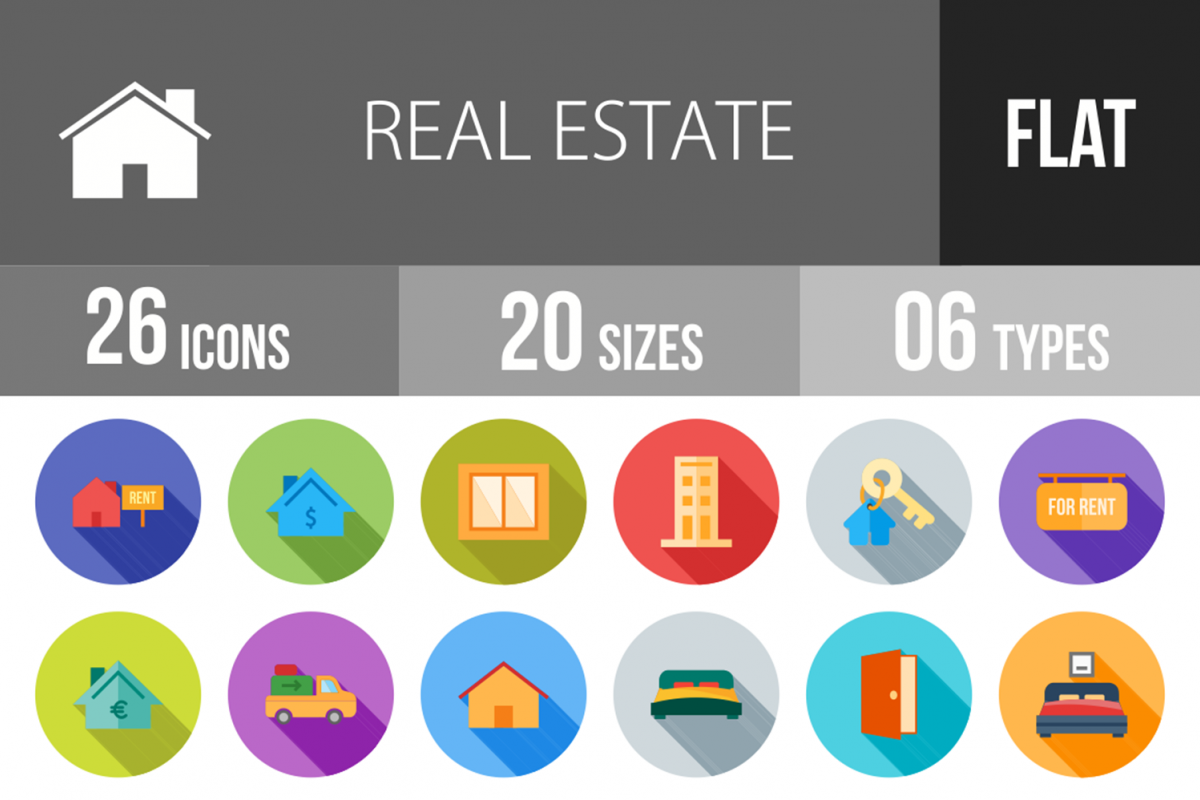 26 Real Estate Flat Long Shadow Icons example image 1