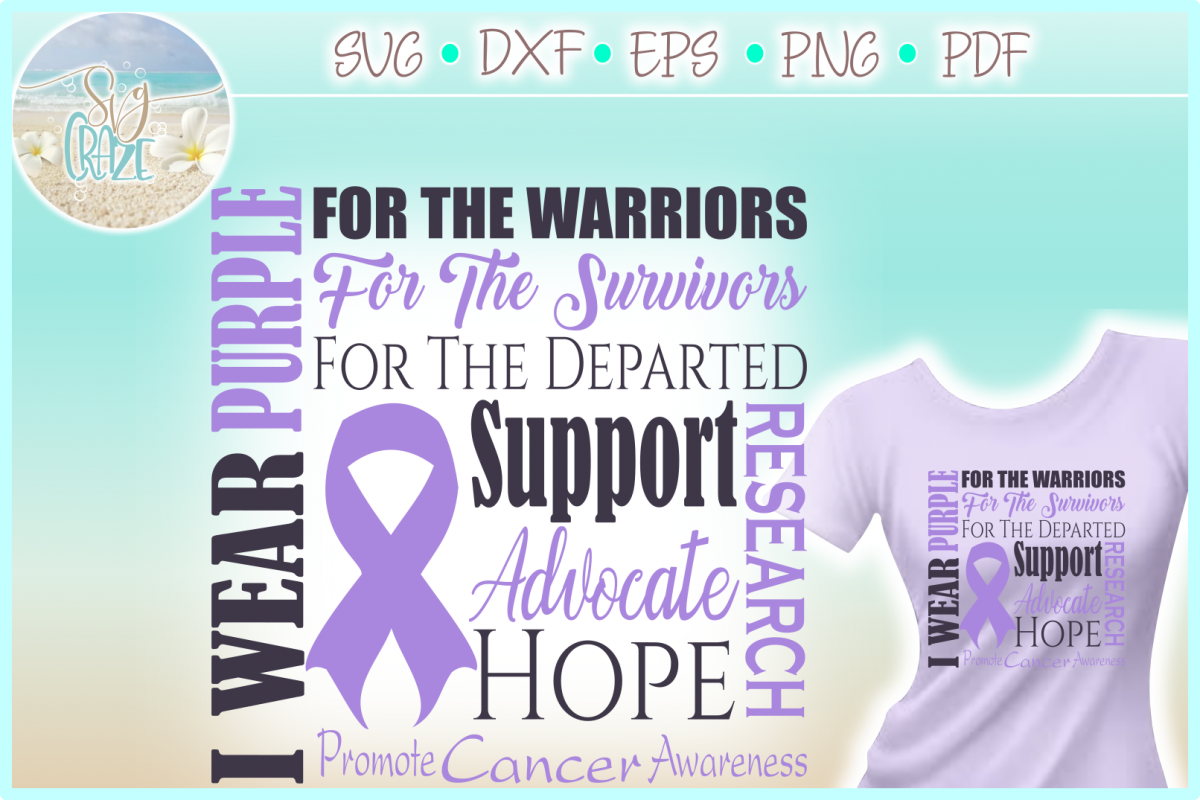 I WEAR PURPLE All Cancer SVG DXF EPS PNG PDF files example image 1