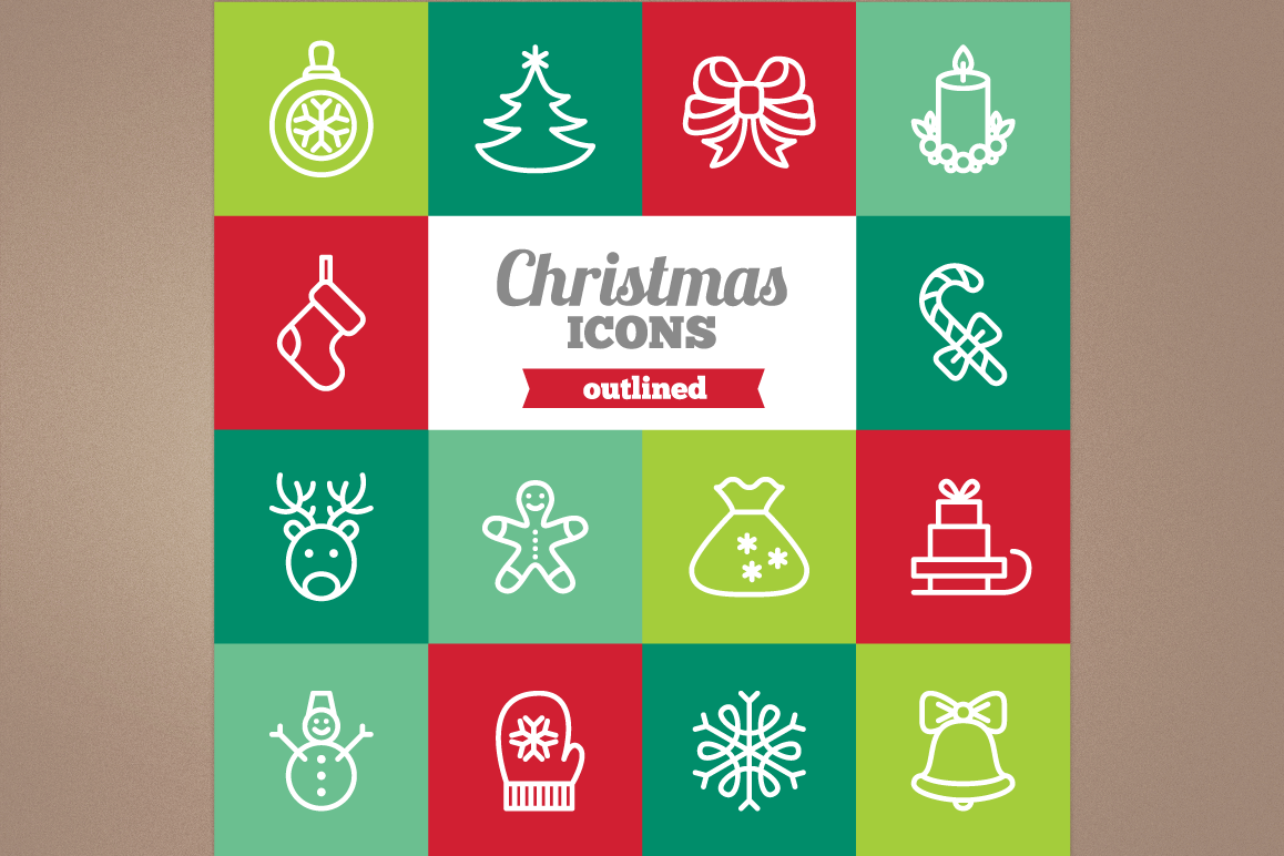 Outlined Christmas Icons example image 1