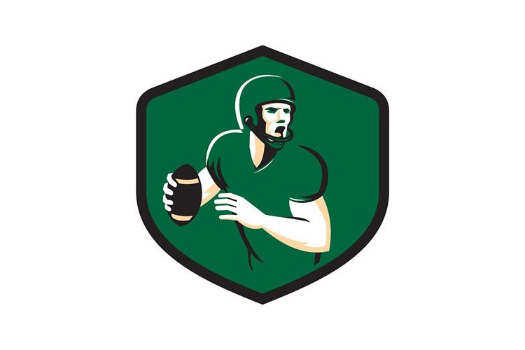 American Football Quarterback QB Shield Retro example image 1