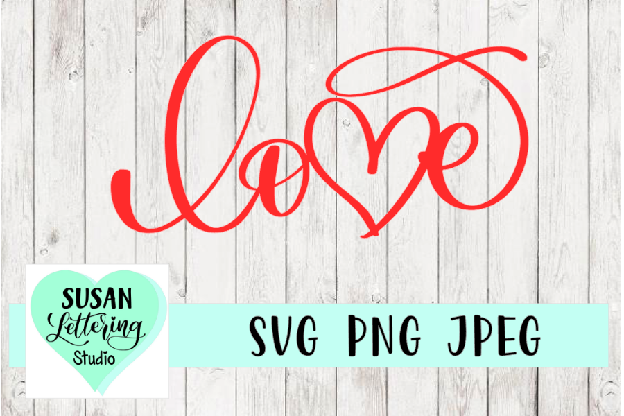 Heart Love Handlettered Script Calligraphy, SVG Cut File example image 1