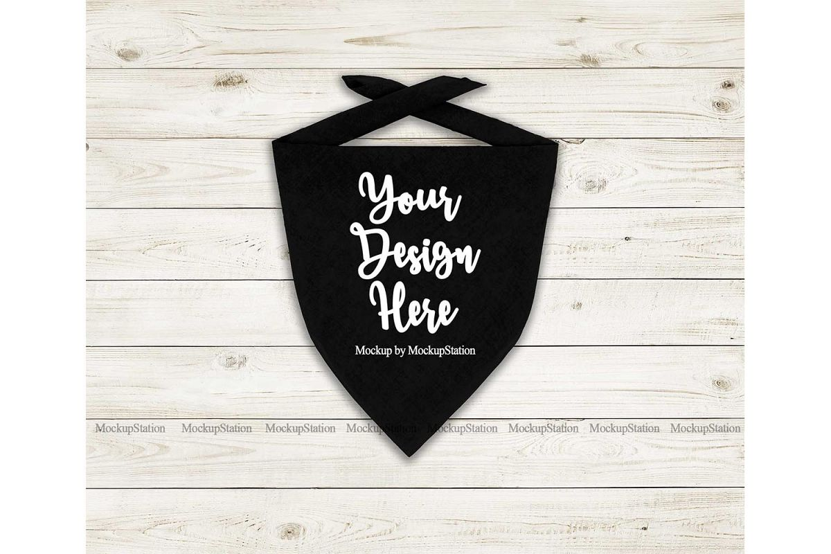 Dog Bandana Mock Up, Pet Black Scarf Flat Lay Mockup example image 1