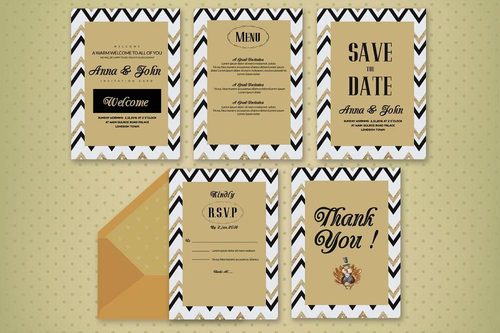 Elegant wedding invitation cards set by design bundles elegant wedding invitation cards set example image stopboris Choice Image
