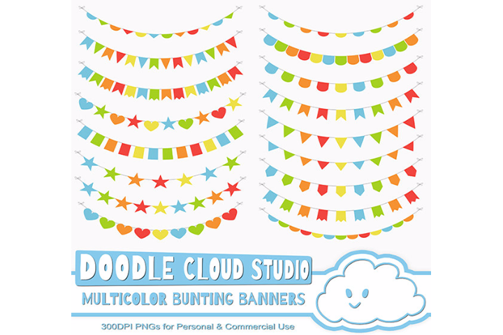 Multicolor Bunting Banners Cliparts, Colorful Rainbow Bunting Flags, Transparent Background, Instant Download, Personal & Commercial Use example image 1