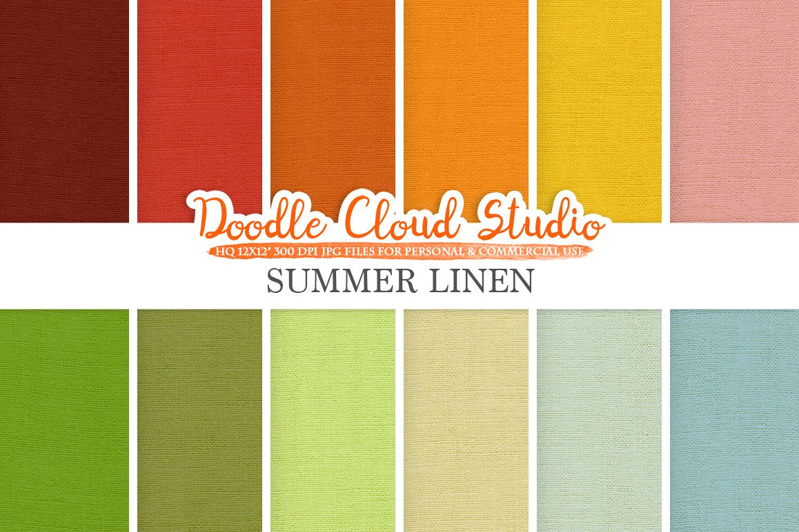 Colorful Summer Linen Fabric digital paper pack, Colorful Bright Backgrounds, linen jute canvas printables, Instant Download, Commercial Use example image 1
