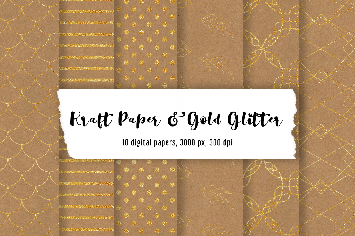 10 digital kraft papers and gold glitter   Mermaid Pattern example image 1