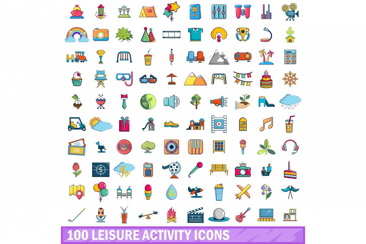 100 leisure activity icons set, cartoon style example image 1