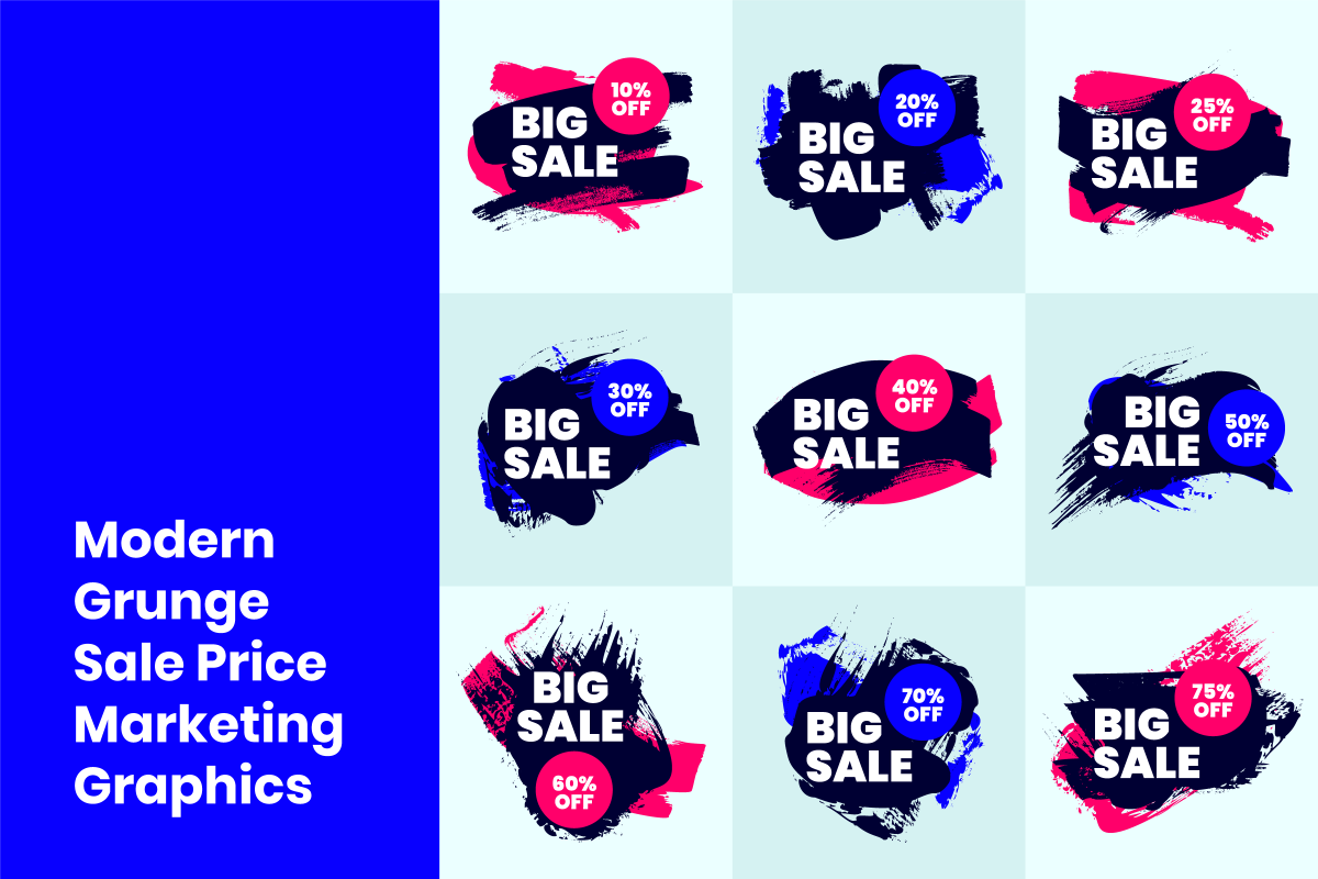Modern Grunge Sale Price Marketing Graphics example image 1