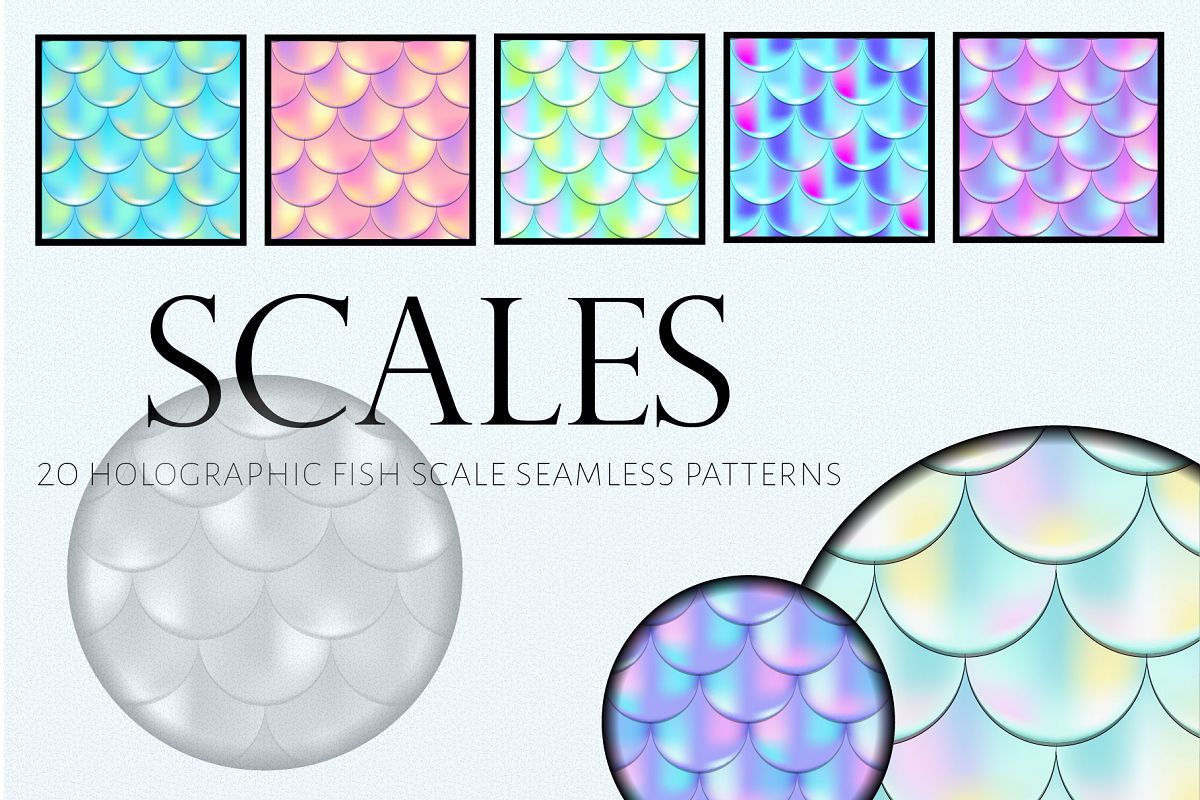 Holographic Mermaid Seamless Patterns example image 1