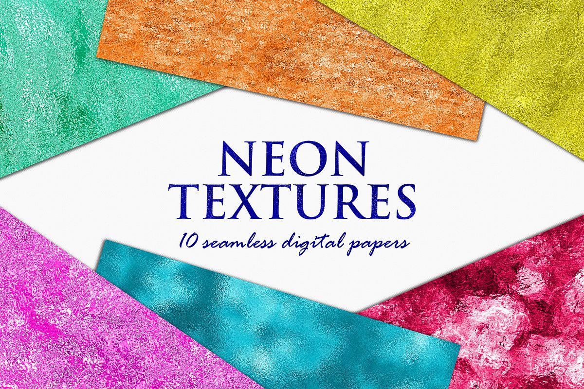 Neon Foil Backgrounds - 10 Seamless Neon Metallic Textures example image 1